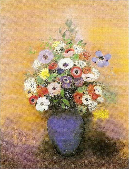 Redon Odilon: Sasanky a lilie vmodré váze, po roce 1912, 74 x 60 cm