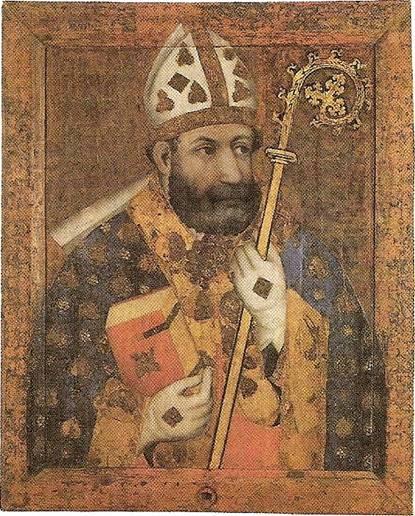 Svatý Vojtěch na vyobrazení z kaple sv. kříže na Karlštejně