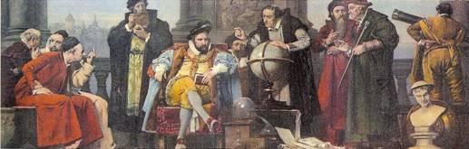 Rudolf II uprostřed svých sbírek obklopen umělci a astrology té doby